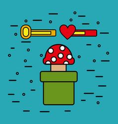 Video game mushroom tube bar life money design vector
