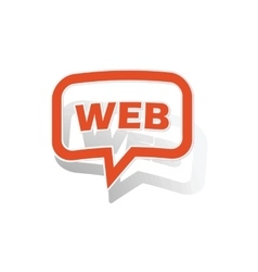 Web message sticker orange vector