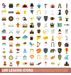 100 legend icons set flat style vector