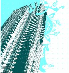Skyscraper and blue curves vector