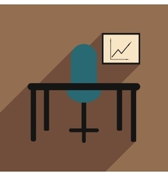 Flat with shadow icon office desk chair chart vector