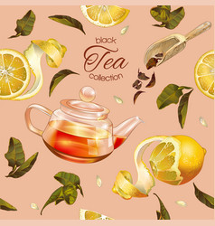 Black tea pattern vector
