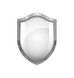 metallic shield with reflection and shiny vector image