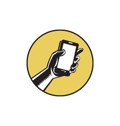 Hand holding smartphone circle woodcut vector