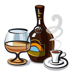 Liquer with coffee vector