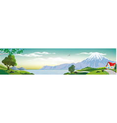 Panoramic landscape - cottage by the sea vector