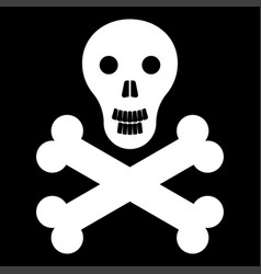 Skull and bones it is the white color icon vector