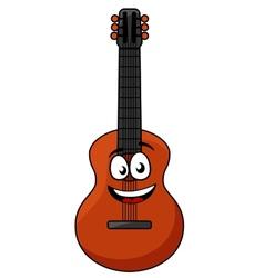 Happy wooden acoustic guitar vector