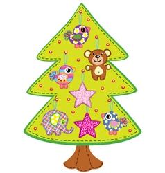 Handmade christmas tree vector