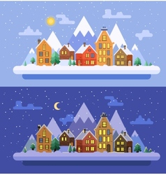 Winter nature christmas time flat vector