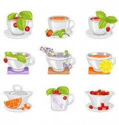 Cups for tea drinking vector