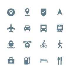 Solid grey various map navigation icons set vector