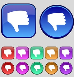 Dislike thumb down hand finger down icon sign a vector