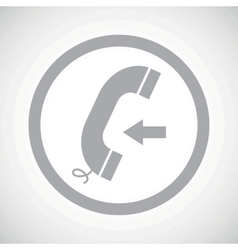 Grey incoming call sign icon vector
