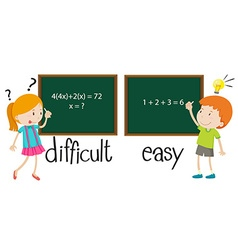 Opposite adjectives difficult and easy vector image
