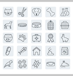 Pets related icon set in thin line style vector