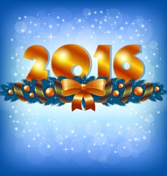 Golden new year 2016 and xmas decoration vector
