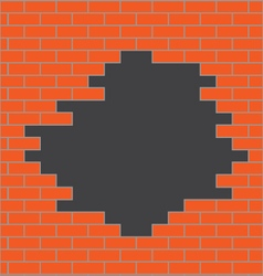 Hole in brick wall orange vector