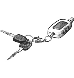 Sketch of car keys with remote conntrole vector