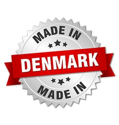 Made in denmark silver badge with red ribbon vector