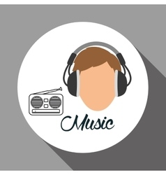 Music design boy icon white background vector