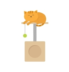 Cute lying sleeping orange cat moustache whisker vector