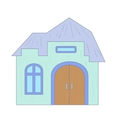 Light blue cottage with an arched door icon vector