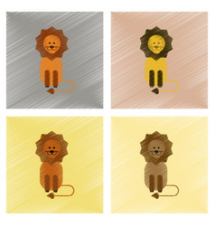Assembly flat shading style icons cartoon lion vector