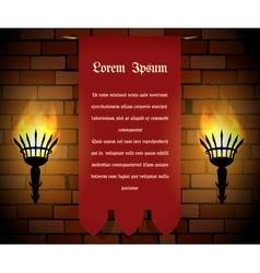 Banner with Torches on the Wall vector image vector image
