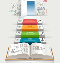 Books step education infographics vector image vector image