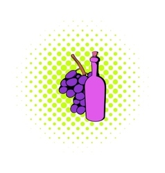 Bottle of wine grape branch icon comics style vector image vector image