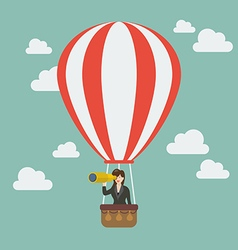 Business woman in hot air balloon search to vector