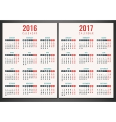 Calendar for 2016 and 2017 Week Starts Monday vector image