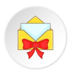 Card in yellow envelope with bow icon vector image