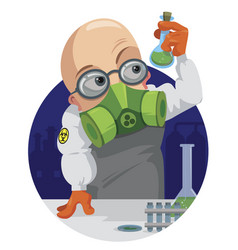 Cartoon professor chemist vector