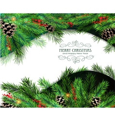 Christmas tree branches background vector