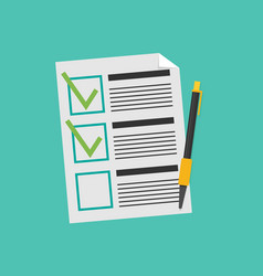 clipboard with checklist flat vector image vector image