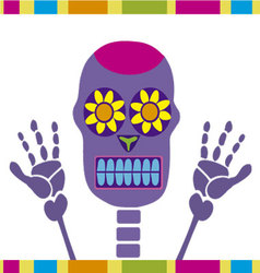 Colorful skull dia de muertos vector