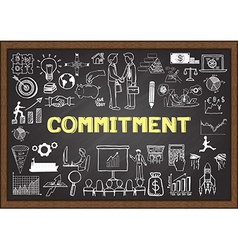 Commitment on chalkboard vector