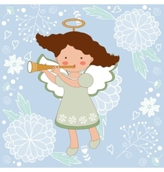 Cute Christmas card with happy angel vector image vector image