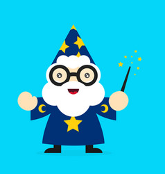 cute funny smiling wizard modern vector image