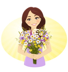 Cute girl with bunch of wild flowers vector image
