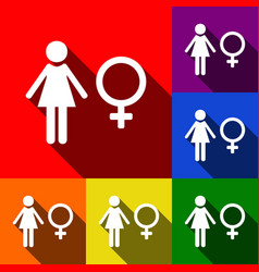 Female sign set of icons vector
