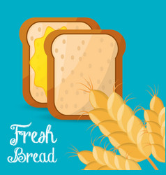 Fresh bread slice wheat ingient vector