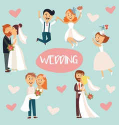 funny cartoon wedding couple bride and groom vector image