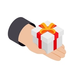Gift in hand 3d isometric icon vector