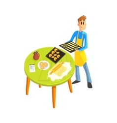 Guy Baking Cookies vector image