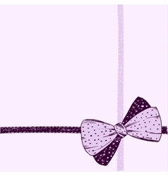 Hand-drawn bow on a pink background vector