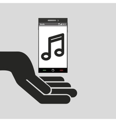 Hand mobile phone music icon vector