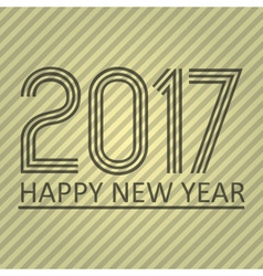 happy new year 2017 on brown striped lines vector image vector image